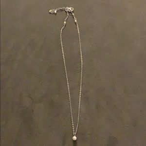 Silver necklace with small pearl
